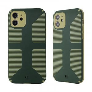 Dual Color Camera Protection Shockproof Stripe Case For iPhone : Green