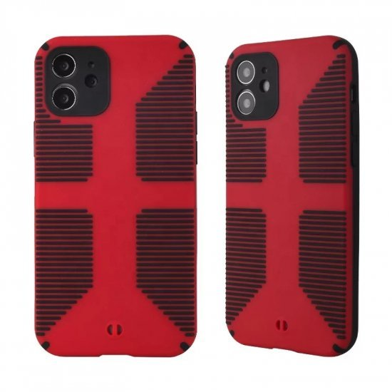 Dual Color Camera Protection Shockproof Stripe Case For iPhone : Red