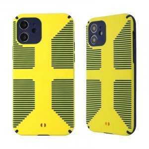 Dual Color Camera Protection Shockproof Stripe Case For iPhone : Yellow