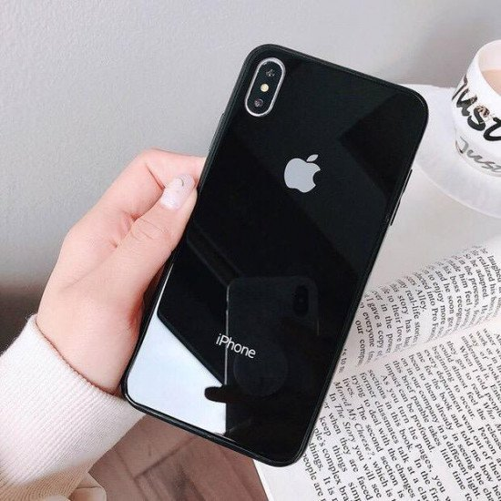 Deep Black Mirror Finish Glass Case For IPhone