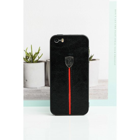 Black Leather Finish Case For iPhone