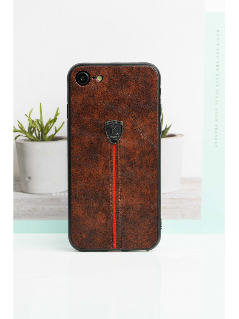 Dark Brown Leather Finish Case For iPhone
