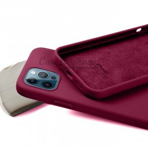 Wine Red Silicone Case For iPhone 12 Series