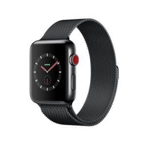 CaseKiDukaan Stainless Steel Milanese Loop Strap with Magnetic Lock Buckle Wrist Band for Apple Watch Series 1,2,3,4,5,6,SE -  Black