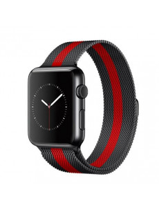 CaseKiDukaan Stainless Steel Milanese Loop Strap with Magnetic Lock Buckle Wrist Band for Apple Watch Series 1,2,3,4 - Red Black