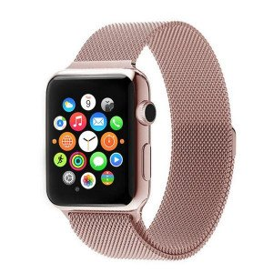 CaseKiDukaan Stainless Steel Milanese Loop Strap with Magnetic Lock Buckle Wrist Band for Apple Watch Series 1,2,3,4,5 - Rose Gold