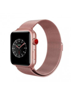 CaseKiDukaan Stainless Steel Milanese Loop Strap with Magnetic Lock Buckle Wrist Band for Apple Watch Series 1,2,3,4 - Rose Gold