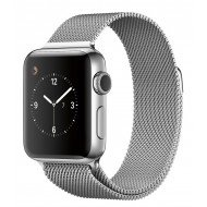 CaseKiDukaan Stainless Steel Milanese Loop Strap with Magnetic Lock Buckle Wrist Band for Apple Watch Series 1,2,3,4,5,6,SE - Silver