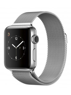 CaseKiDukaan Stainless Steel Milanese Loop Strap with Magnetic Lock Buckle Wrist Band for Apple Watch Series 1,2,3,4 - Silver