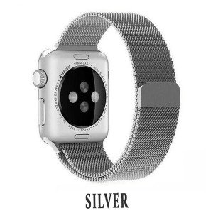 CaseKiDukaan Stainless Steel Milanese Loop Strap with Magnetic Lock Buckle Wrist Band for Apple Watch Series 1,2,3,4,5 - Silver