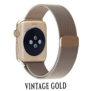 CaseKiDukaan Stainless Steel Milanese Loop Strap with Magnetic Lock Buckle Wrist Band for Apple Watch Series 1,2,3,4,5 - Vintage Gold