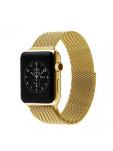 CaseKiDukaan Stainless Steel Milanese Loop Strap with Magnetic Lock Buckle Wrist Band for Apple Watch Series 1,2,3,4 - Yellow Gold