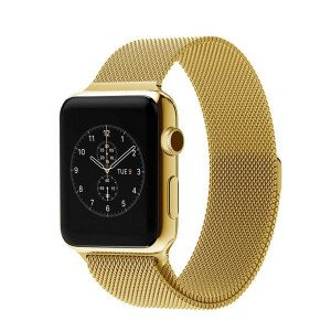 CaseKiDukaan Stainless Steel Milanese Loop Strap with Magnetic Lock Buckle Wrist Band for Apple Watch Series 1,2,3,4,5 - Yellow Gold